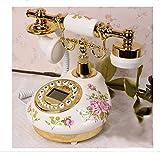 White Rose Flower Ceramic LNC Retro Vintage Antique Style Push Button Dial Desk Telephone Phone Home Living Room Decor