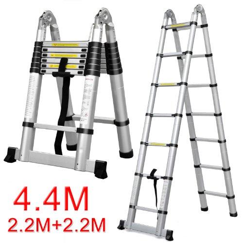 Easyfashion 8.5FT/12.5FT/14.5FT/15.5FT/16.5FT Folding Aluminum Telescopic Ladder Extension (4.4m (14ft5) Telescopic Ladder)