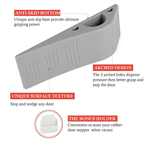 Door Stopper with Free Bonus Holders,4Pack Airsspu Rubber Door Stop Wedge Works on All Surfaces,Safety and Strong Grip(4Pack - Gray) by Airsspu (Image #1)