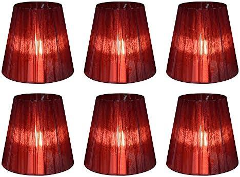 Eastlion 6 Pacchi 5.5inch Paralume Tessuto Piccolo Clip Paralumi Lampadari Lampadario e Lampada a Muro,Vino Rosso
