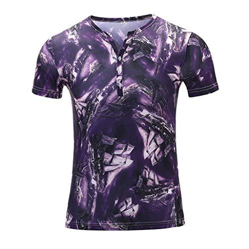 YOCheerful Men's Tops Summer Short Sleeve Fitness Casual T-Shirt Blouse Printed Tops(Purple, 3XL) ()