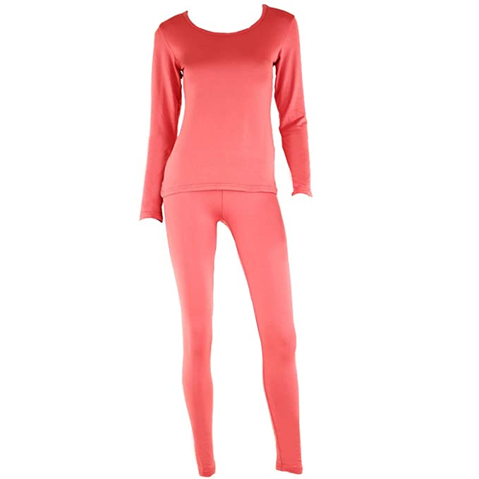 4f34cda1bb42 Image Unavailable. Image not available for. Color: SLM ThermaTek Women's  Microfiber Fleece Thermal Underwear Two Piece Long Johns Set-2XL-Raspberry