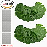 Hawaii Tropical Palm Leaf Set Contains 40 PCS Large Size Leaves and Three Sheets Dot Glue for Luau Jungle Beach Theme Party Artificial Leaf Palm Decoration (40 PCS)