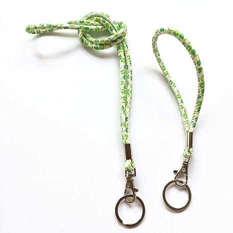Rond Cuir PU Imprime Cordon Lanyard Keychain Avec Pince Solide Et Porte Cles Pour Sifflet Key
