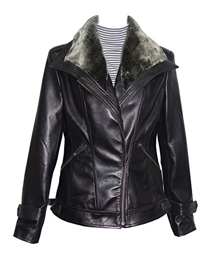 Nettailor 4061 Leather Motorcycle Jackets Womens Faux Fur Trim Fine Lamb by NETTAILOR (Image #6)