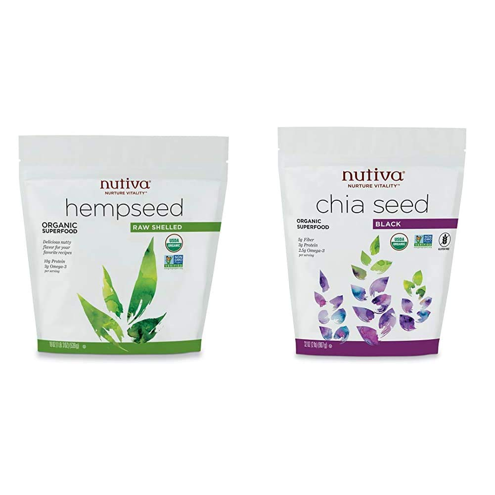 Nutiva Organic Raw Shelled Hempseed from non-GMO, Sustainably Framed Canadian Hemp, 19 Ounce & Organic Premium Black Chia Seeds, 32 Ounce
