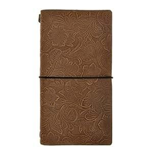 ZLYC-Cuaderno (tapa de piel flores relieve viajeros diarios diario cuaderno Diario cuaderno, tamaño, color café