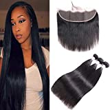 Brazilian Human Hair 3 Bundles Straight Hair With Lace Frontal With Baby Hair(24 26 28 + 22), 8A Unprocessed Brazilian Straight Virgin Remy Hair Weave Weft With 13x4 Ear To Ear Frontal, Natural Color