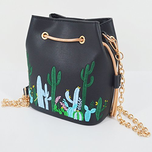 Women Chain Bucket Bag Cactus Goodbag Embroidery Boutique Cactus Drawstring Black Bag Floral Bag Aqxwq5ZR4n
