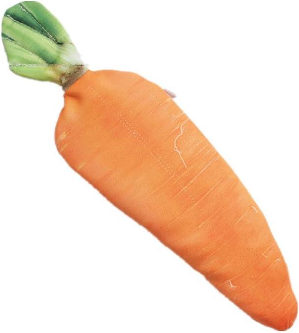 Funny live Creative Simulation Vegetables Pencil Holders Unique Handbags Makeup Bag Fatty Pork, Carrot, Cabbage, Bamboo Shoots, Balsam Pear Pencil Case (Carrot)