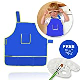 Fun Kids Apron   Waterproof Child Smock Washable Tarpaulin Fabric with 4 Front Pocket   Adjustable Strap for Cooking Lab Art Craft Painting   Paint Tray Gift Included