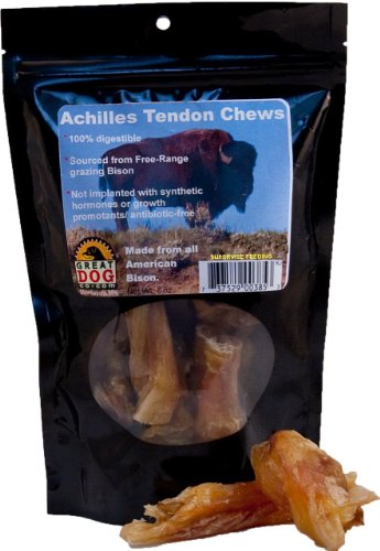 Great Dog Bison Achilles Tendon Chews 7 oz. Bag (Sourced and Made in USA), My Pet Supplies