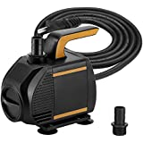KEDSUM 580GPH Submersible Pump, 35W Ultra Quiet Water Pump with 6ft High Lift, Fountain Pump with 5 ft Power Cord, 2 Nozzles for Fish Tank, Pond, Aquarium, Statuary, Hydroponics