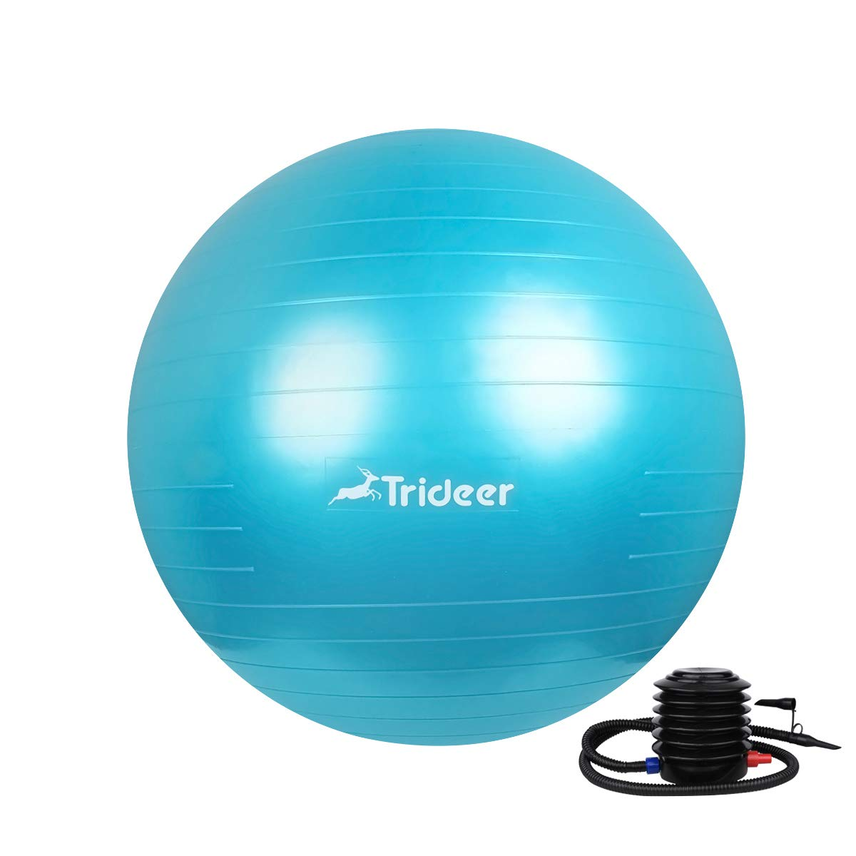 Trideer Exercise Ball (Multiple Sizes), Yoga Ball, Birthing Ball with Quick Pump, Anti-Burst & Extra Thick, Heavy Duty Ball Chair, Stability Ball Supports 2200lbs (Office&Home) (Turkis, M (48-55cm))