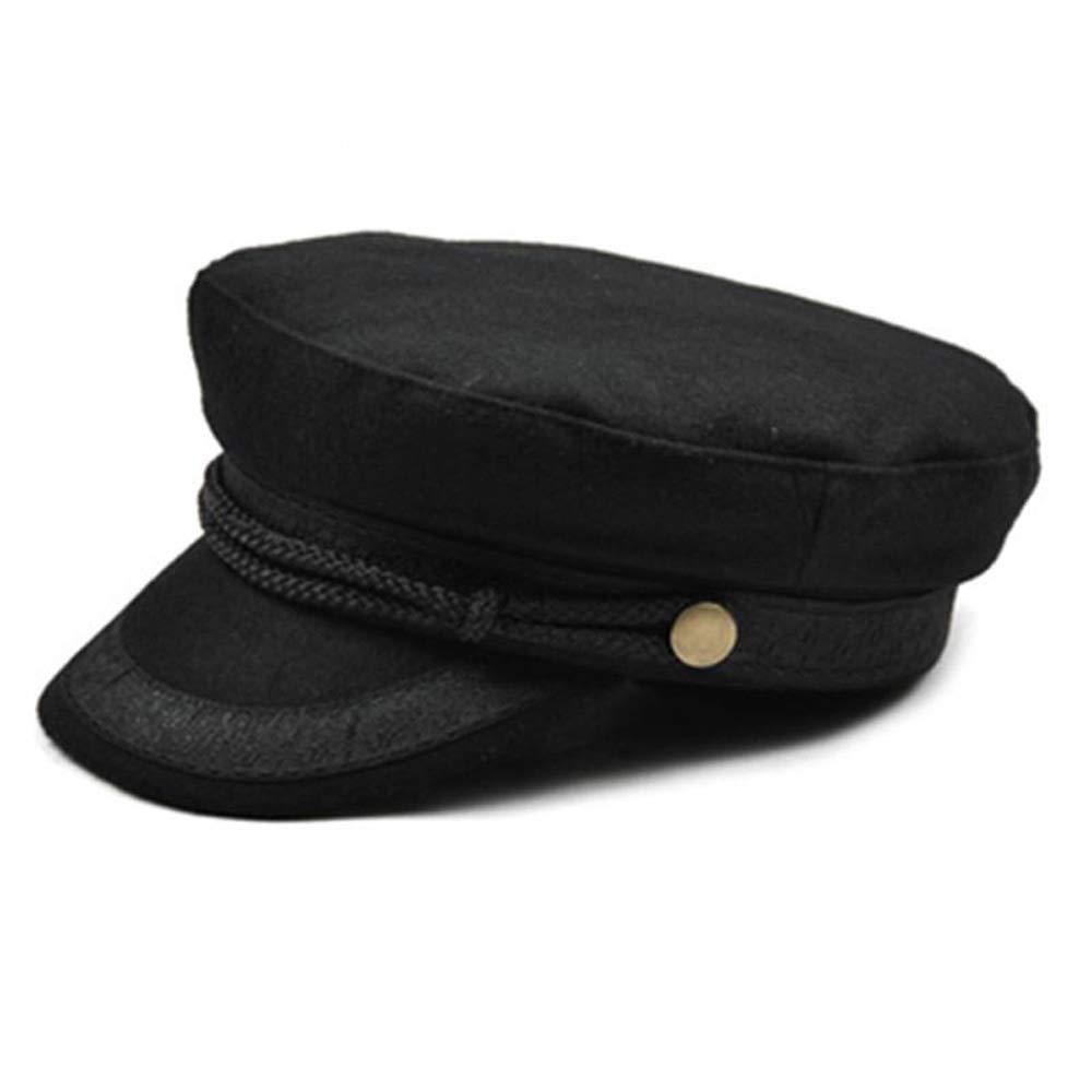 MUMUWU Men Women Wool Navy Beret Cap Fashion Female Leather Braided Rope Octagonal Bud Hat (Color : Black, Size : 56-58CM)