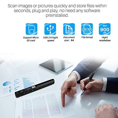 Escáner portátil de documentos AOZBZ Portátil 900DPI Escáner de imagen en color USB A4 (formato JPG / PDF Hi-Speed USB 2.0, tarjeta Micro SD / TF de ...