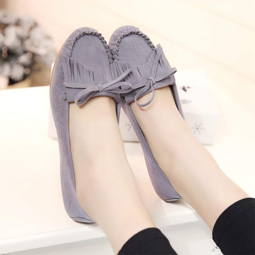 JOYBI Women Casual Flat Shoes Round Toe Tassel Comfortable Butterfly-Knot Slip-on Ladies Fashion Loafers