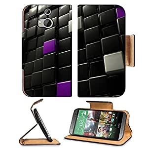 Abstract Black Shiny Cubes Digital Art HTC One M8 Flip Case Stand Magnetic Cover Open Ports Customized Made to Order Support Ready Premium Deluxe Pu Leather 6 4/16 Inch (158mm) X 3 4/16 Inch (82mm) X 9/16 Inch (14mm) MSD HTC1 cover Professional M 8 Cases
