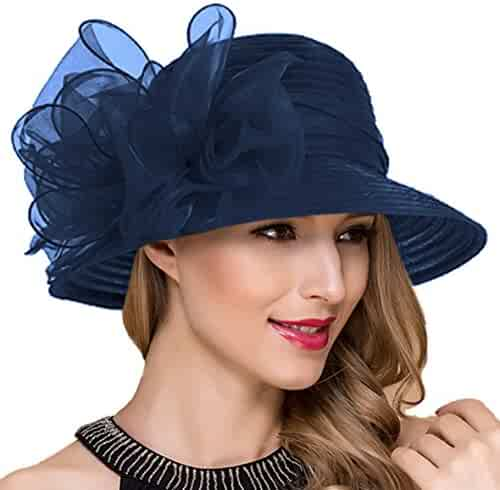 c85736c41c9 Lady Church Derby Dress Cloche Hat Fascinator Floral Tea Party Wedding Bucket  Hat S051