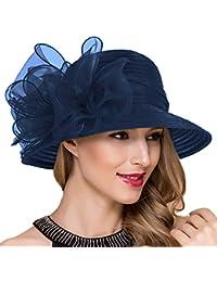 3ff8b39da12 Lady Church Derby Dress Cloche Hat Fascinator Floral Tea Party Wedding  Bucket Hat S051