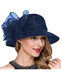 01b3f92f44e Lady Church Derby Dress Cloche Hat Fascinator Floral Tea Party Wedding Bucket  Hat S051