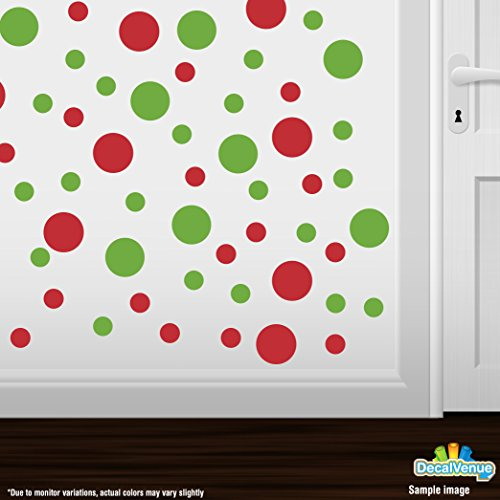 Set of 30 - Lime Green/Red Circles Polka Dots Vinyl Wall Graphic Decals Stickers (Red Kids Wallpaper)
