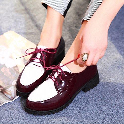 Mee Shoes Damen modern bequem dicker Absatz Niedrig Lackleder Mischfarbe Geschlossen Schnürhalbschuhe Rot