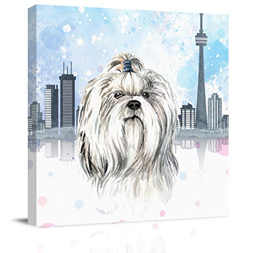 BABEMAPS Home Decor Canvas Wall Art Vancouver City Architecture Watercolor Maltese Dog Vintage Wood Background Modern Living Room/Bedroom Decoration Stretched and Ready to Hang 12x12 inch