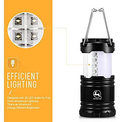 Camping Lantern, DEERLEAD Ultra Bright LED Lantern Light Lamp Flashlight for Hiking, Emergencies, Hurricanes, Outages, Storms, Camping - Water-Resistant & Lightweight, Black
