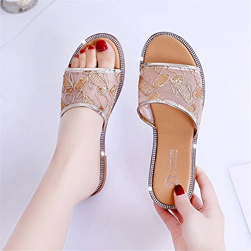 Slip Non Home Flat Sandals Shoes Classic Breathable Summer Shoes FORTUN Slippers Gold F6x0pC