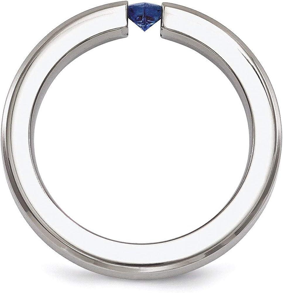 Lex /& Lu Edward Mirell Titanium Satin Sapphire 4mm Band Ring