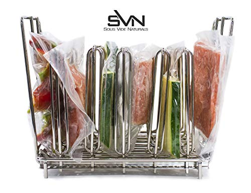 Strap Stacking Bar - Sous Vide Rack For Anova, Nomiku, Sansaire, PolyScience All Sous Vide Cooker Immersion Circulator Cookers - Adjustable Stainless Steel, Collapsible, Even Warming - Sous Vide Rack Divider Is Heavy Duty & Rust Resistant Works With Most Sous Vide Containers