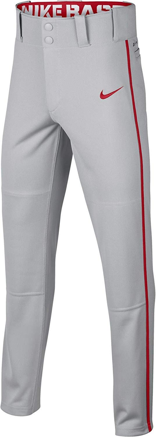 Nike Boys' Swoosh Piped Dri-FIT Baseball Pants (S, Grey/Red) by Nike