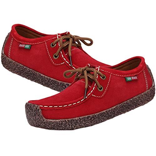 Jipai(TM) 6 Colores Zapatos de Cuero Genuino de Las Mujeres de Planos Casuales Zapatilla de Deporte de Gamuza Cosida a Mano de la Mujer Rojo