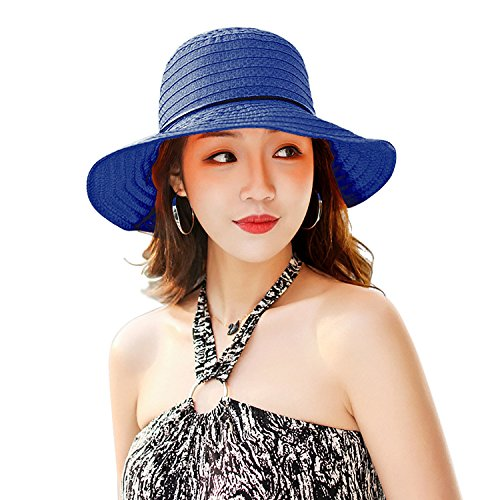Double Couple Linen Wide Brim Summer Beach Sun Hat for Women Foldable...