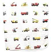 100% Organic Muslin Everything Blanket by ADDISON BELLE - Oversized 47 inches x 47 inches - Best Baby/Toddler Gift - Premium 4 Layer Muslin Blanket/Dream Blanket (Construction Trucks Print)