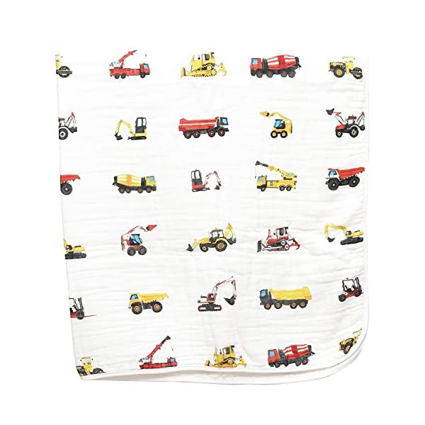 100% Organic Muslin Everything Blanket by ADDISON BELLE – Oversized 47 inches x 47 inches – Best Baby/Toddler Gift – Premium 4 Layer Muslin Blanket/Dream Blanket (Construction Trucks Print)