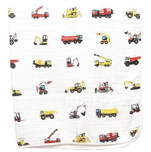 - 100% Organic Muslin Everything Blanket by ADDISON BELLE - Oversized 47 inches x 47 inches - Best Baby/Toddler Gift - Premium 4 Layer Muslin Blanket/Dream Blanket (Construction Trucks Print)