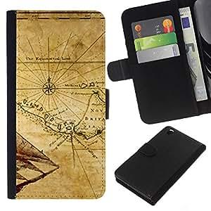 KingStore / Leather Etui en cuir / HTC DESIRE 816 / Mapa antiguo Breta?a Geografía Eart Continente
