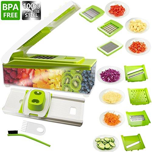 Vegetable Slicer, ANKO 100% Stainless-Steel Blades BPA FREE Slicer, 10 in 1 Multi-Functional Adjustable Vegetable and Fruit Slicer Chopper Cheese Grater Multi Blades with Cleaning Brush (1-PACK) - Multi Slicer