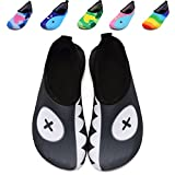 VIFUUR Kids Girls Boys Water Shoes Lightweight Barefoot Quick-Dry Aqua Yoga Socks for Beach Swimming GreyEyes 22/23