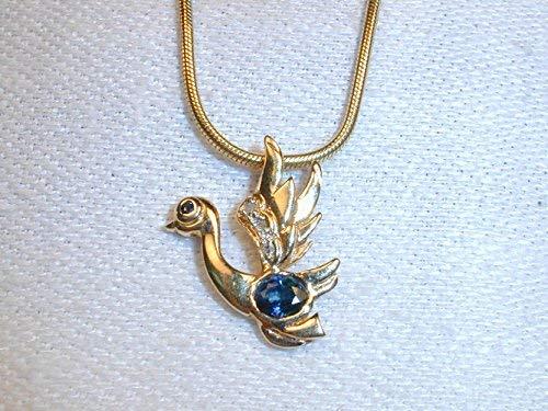 Beautiful Estate 14K Yellow Gold Sapphire Diamond Swan Pendant Charm