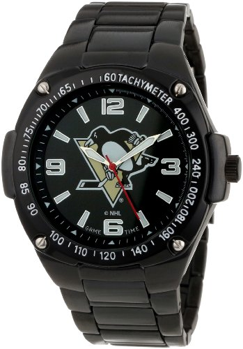 Pittsburgh Penguins Watch - Game Time Unisex NHL-WAR-Pit Warrior Pittsburgh Penguins Analog 3-Hand Watch