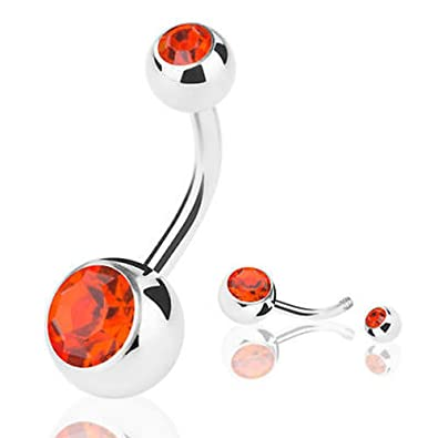 Amazon Com Santo Jewels Double 1ct Red Ruby Belly Button Bar Body
