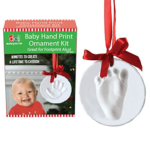 Baby Child Grandchild Handprint Footprint DIY Christmas Holiday Ornament Kit -