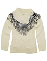 Dollhouse Little Girls Cardigan Sweater with Front Fringes and Pockets, Off White, 6X