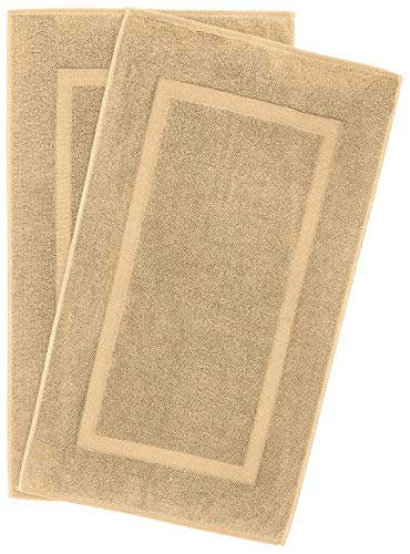 900 GSM Machine Washable 21x34 Inches 2-Pack Banded Bath Mats, Luxury Hotel and Spa Quality, 100% Ring Spun Genuine Cotton, Maximum Softness and Absorbency by United Home Textile, Sand Taupe ()