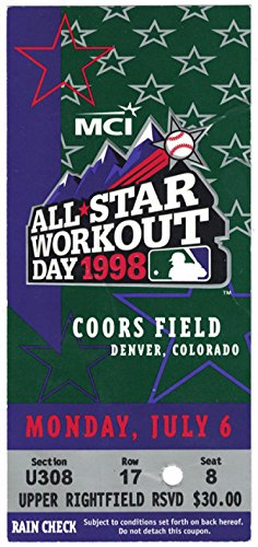 1998 All Star Workout Day Ticket Stub At Coors Field
