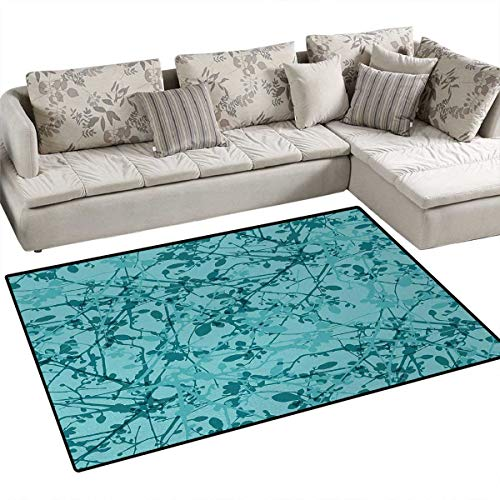 """Teal,Rug,Ink Drawing Inspired Intertwined Tree Branches Buds and Leaves in Abstract Design,Floor Mat for Kids,Teal Turquoise,40""""x55"""" -  smallbeefly"""