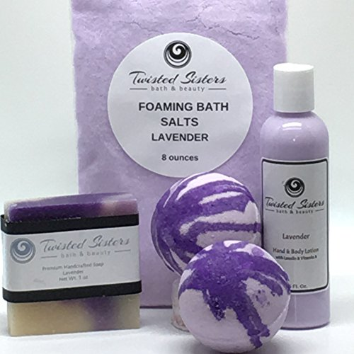 Spa Bath Bomb Soap & Lotion Gift set- (Lavender) aromatherapy- Gifts for women, mom, girls, teens. Deluxe relaxing scents.